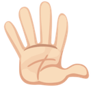Hand with Fingers Splayed Emoji with Light Skin Tone, Facebook style