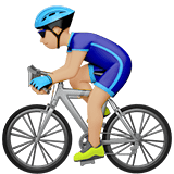 Man Biking Emoji with Medium-Light Skin Tone, Apple style