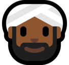 Person Wearing Turban Emoji with a Medium-Dark Skin Tone, Microsoft style