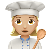 Woman Cook Emoji with a Medium-Light Skin Tone, Apple style