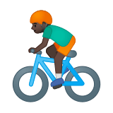 Person Biking Emoji with a Dark Skin Tone, Google style