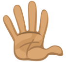 Raised Hand with Fingers Splayed Emoji with a Medium Skin Tone, Facebook style