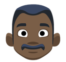 Man Emoji with Dark Skin Tone, Facebook style