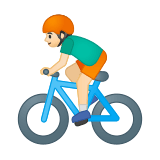 Person Biking Emoji with Light Skin Tone, Google style