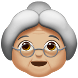 Old Woman Emoji with a Medium-Light Skin Tone, Apple style
