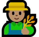 Man Farmer Emoji with Medium Skin Tone, Microsoft style