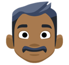 Man Emoji with a Medium-Dark Skin Tone, Facebook style