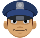 Police Officer Emoji with a Medium Skin Tone, Facebook style