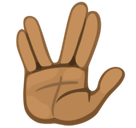 Vulcan Salute Emoji with Medium-Dark Skin Tone, Facebook style