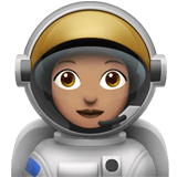 Woman Astronaut Emoji with a Medium Skin Tone, Apple style