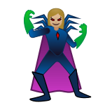 Supervillain Emoji with Medium-Light Skin Tone, Google style