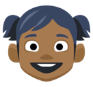 Girl Emoji with a Medium-Dark Skin Tone, Facebook style
